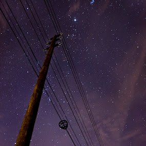 by Jay Kleinrichert - Landscapes Starscapes ( pole, wire, stars, jupiter, night, telephone )