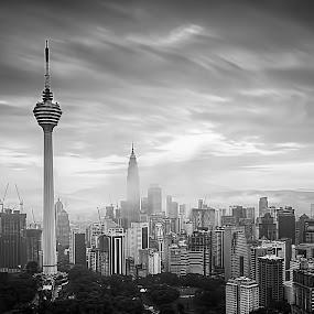 The Heart of The City by Zaid Zaza - Landscapes Travel ( black and white, b and w, landscape, b&w, monotone, mono-tone )