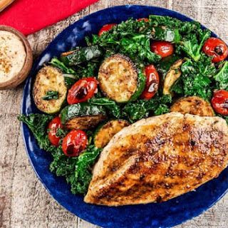 Old Bay Grilled Chicken and Zucchini Sauté with kale and aioli