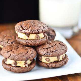 Brownie Sandwich Cookies with Chocolate Chip Cookie Dough Frosting