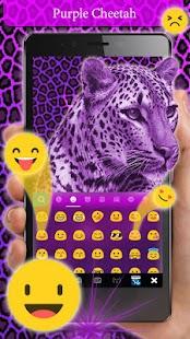 Purple Cheetah Keyboard Theme - náhled