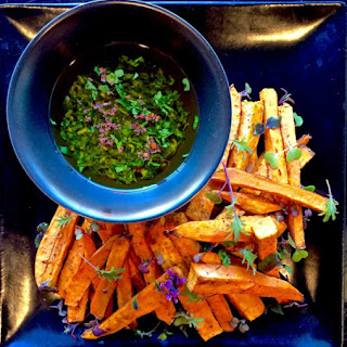 Healthy Baked Sweet Potato Fries With Cilantro-Scallion Dipping Sauce
