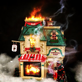 Burning House by Geary LeBell - Instagram & Mobile iPhone ( structure, building, house fire, christmas, house, spaceeffect, burning, smoke, snapseed, fire, xmax, burnt, ornament, noel, burn, figurine )