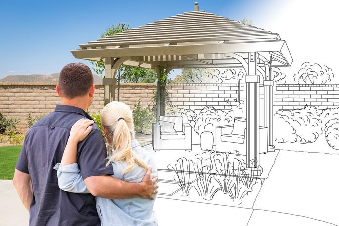 Couple Facing Pergola Drawing Gradating To Photo