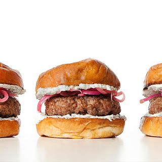 Lamb Burger with Herbed Yogurt and Pickled Onions Recipe