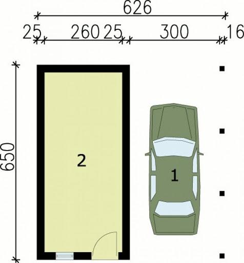 G47 wiata garażowa - Rzut garażu