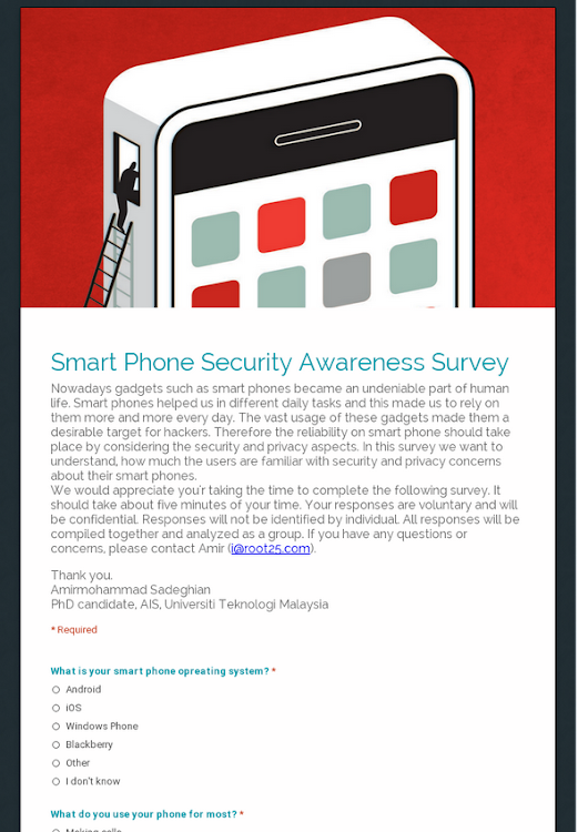 Smart Phone Security Awareness Survey