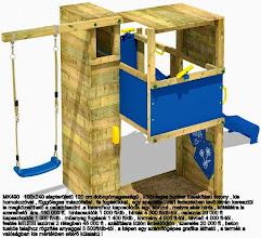 Photo: MK490   100x240 alapterületű 120 cm dobogómagasságú , különleges bunker kialakítású torony , kis  homokozóval , függőleges mászófallal , fa fogásokkal , egy speciális , zárt fedezékben levő létrán keresztül  is megközelíthető a csúszdaszint .a toronyhoz kapcsolódik egy  konzol , melyre akár hinta , kötéllétra is  szerelhető .ára  150 000 ft.  hintacsuklók 1 000 ft/db , hinták 4 000 ft/db-tól , csúszda 20 000 ft   kapaszkodók 1 000 ft/db . műanyag fogások 1 400 ft/db , kormány 4 000 ft-tól , távcső 4 000 ft-tól . festés MILESI lazúrral 2 rétegben 45 000 ft . szállításra külön érdeklődjön , szerelés 20 000 ft , beton  tuskós talajhoz rögzítés anyaggal 3 500ft/db-tól . a képen egy számítógépes grafika látható , a termék a  valóságban kis mértékben eltérő külalakú !