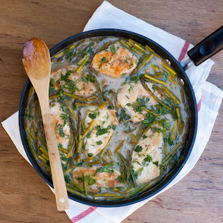 Healthy Braised Chicken with Asparagus & Fresh Herbs.