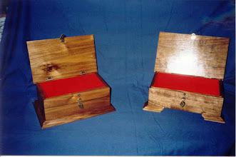 Photo: Walnut keepsake boxes.