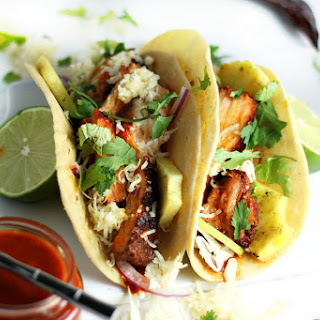 Smoked Pork Belly Tacos with Chipotle-Guajillo Sauce and Grilled Pineapple (Big Green Egg recipe).