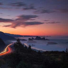 Southern Oregon by Zach Blackwood - Landscapes Sunsets & Sunrises ( light streaks, cars, sunset, sunrise, southern oregon, coast )