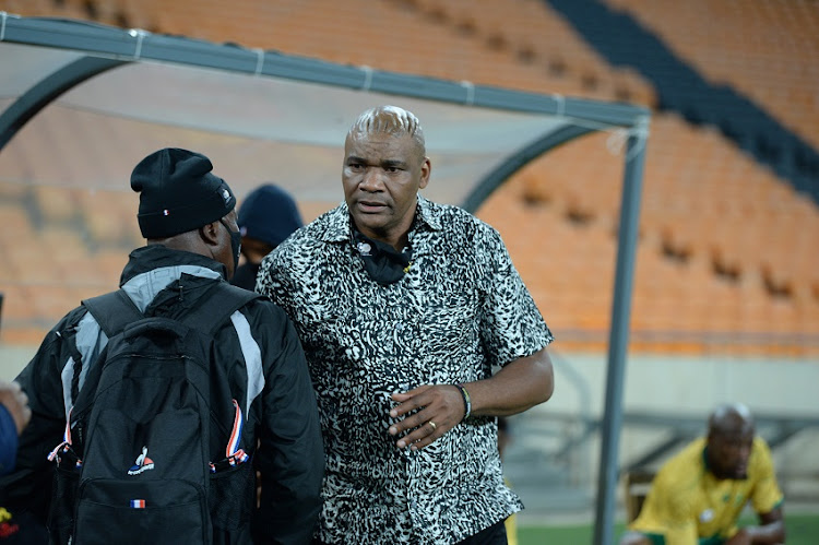 Bafana Bafana coach Molefi Ntseki during the 2022 Africa Cup of Nations qualifier match between South Africa and Ghana at FNB Stadium on March 25 2021 in Johannesburg.
