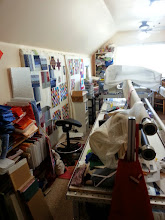 Photo: This is the other side of the room, where I had to temporarily place stuff in order to move things around.  Ugh!