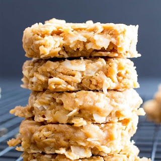 4 Ingredient No Bake Peanut Butter Coconut Oatmeal Cookies (Gluten-Free, Vegan, Dairy-Free, 4 Ingredient, One Bowl).