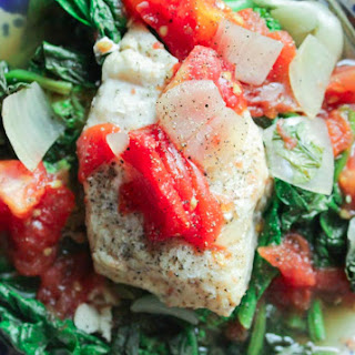 Poached Cod with Spinach and Broccoli.