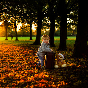 Evening is coming ... Teddy bear- is time to go home.... by Piotr Owczarzak - Babies & Children Children Candids ( england, teddy bear, london, park, autumn, trees, light, childrens,  )