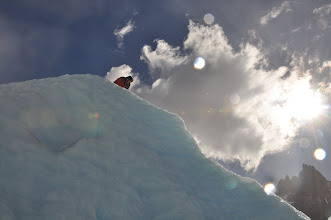 Photo: Manuel setting the ice anchors