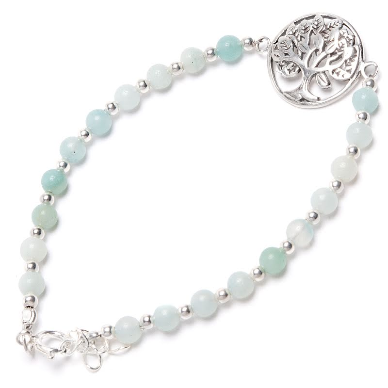 Amazonit, armband med Livets träd i silver