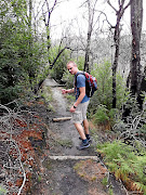 Raimund Petsch is one step ahead of the writer in the indigenous forest on the Kranshoek Coastal Walk.