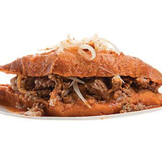 "Torta Ahogada (Mexican ""Drowned"" Sandwich)."