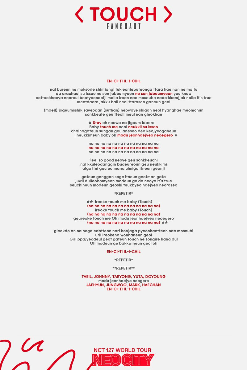 nct 127 touch fanchant