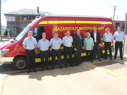 Narrabri Fire and Rescue's Luke Morgan, Lee Rich, Lucas Warren and Gavin Hanna, Narrabri Shire Council general manager Stewart Todd and Mayor Cathy Redding, State Member For Barwon Kevin Humphries and Narrabri Fire and Rescue's Joab Rushton and Bradley Clifford at the official launch of the Narrabri Fire Station HAZMAT van on Tuesday.