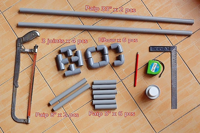 bahan-bahan untuk pasang rak PVC penyangkut bajut