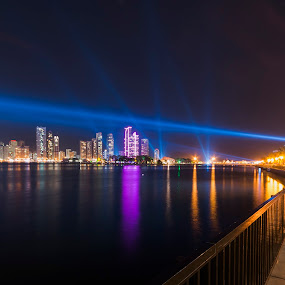 Corniche by Ricky Pagador - City,  Street & Park  Night ( lights, building, street, night, nightscape )