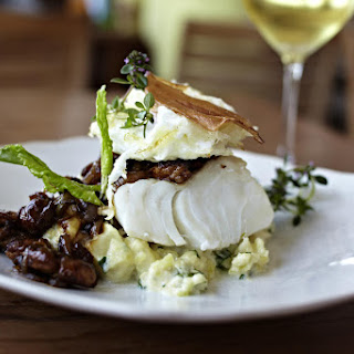 Cod with Fried Egg and Mushrooms.