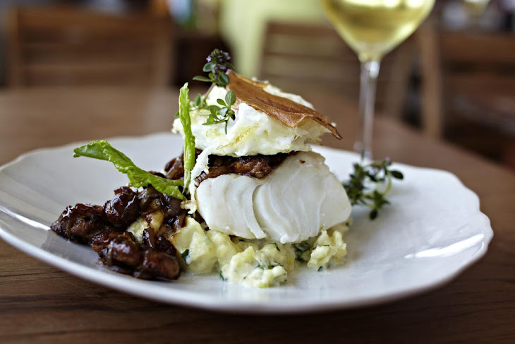 Cod with Fried Egg and Mushrooms Recipe