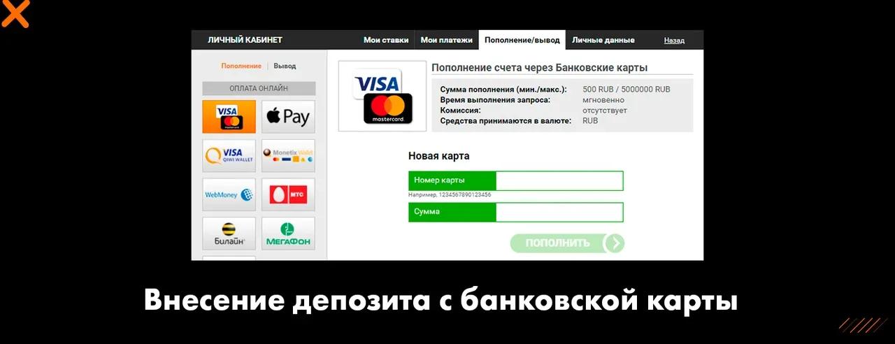 Внесение депозита с банковской карты доступный для Winline.ru и Winlinebet.com