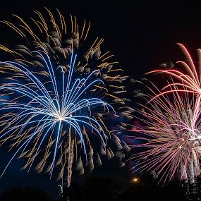 Star Bursts by Jim Salvas - Public Holidays July 4th ( blue, night, live composite, fireworks, lancaster )