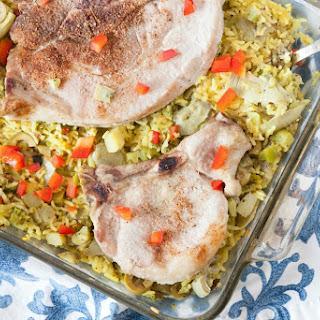 Saffron Yellow Rice and Pork Chop Bake.