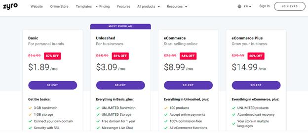 zyro pricing options