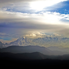 The trishul range of Himalayas by Debopam Banerjee - Landscapes Mountains & Hills ( destinations, mountain, himalaya, hilly, travel, hiking, ridge, sky, nature, mountaineering, weather, non-urban, hill, twilight, white, sunlight, rural, trishul, serene, outdoors, scene, uttarakhand, range, peak, distant, land, eternity, valley, beauty, landscape, sun, panorama, trisul, distance, clean, rolling, asia, india, terrain, kausani, extreme, peaceful, cloudscape, scenic, point, mount, blue, cascade, cloud, beam )