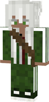A girl with white hair in a green tracksuit with a brown bag. By: Sl1ppy