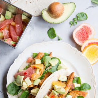 Chicken and Chickpea Tacos with Citrus and Avocado Salsa.