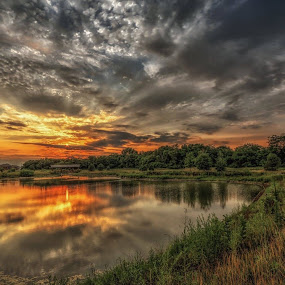 Reflection  by Casey Mitchell - Landscapes Cloud Formations ( clouds, sunset, lake, pond,  )