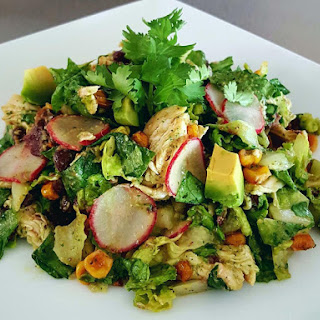Mexican Chopped Salad with Spicy Avocado Cilantro Lime Dressing