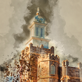 Logan LDS Temple Watercolor by Valerie Aebischer - Digital Art Places ( mormon temples, logan ut lds temple, mormon temple, lds temple, lds, mormon, lds temples )