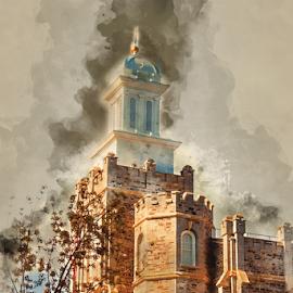 Logan LDS Temple Watercolor by Valerie Aebischer - Digital Art Places ( mormon temples, logan ut lds temple, mormon temple, lds temple, lds, mormon, lds temples )