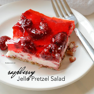 Raspberry Jello Pretzel Salad.