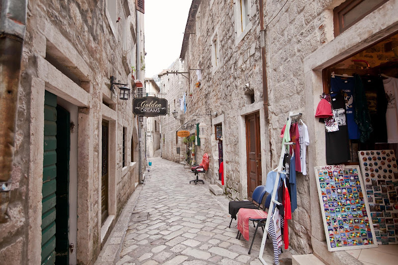 One of the lanes, lined with shops, along Kotor's Stari Grad, or Old Town.