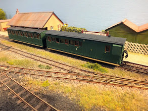 Photo: 013 The passenger set at Ryedown Lane. Both of these coaches were built by Patrick Collins from Parkside Dundas Vale of Rheidol coach and van kits, the brake compo being a clever marriage between the 4 wheel brakevan and 4/7ths of the bogie coach .