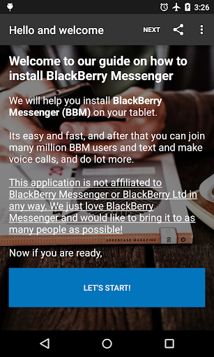 Install GUIDE: BBM for tablet