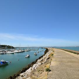 by Ross Copson - Transportation Roads ( sky, harbour, marina, blue, walkway, boats )
