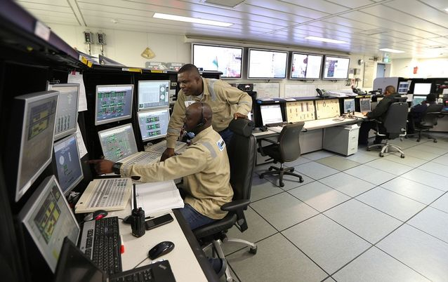 The control room on the Agbami floating production, storage and offloading vessel operated in Nigeria's Niger Delta by Chevron, which has managed to diffuse local tensions. Picture: BLOOMBERG/GEORGE OSODI