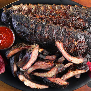 Smoked Baby Back Ribs with Prickly Pear Barbecue Sauce.