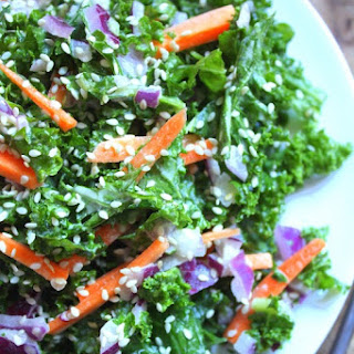 Kale Salad with Creamy Ginger Tahini Dressing